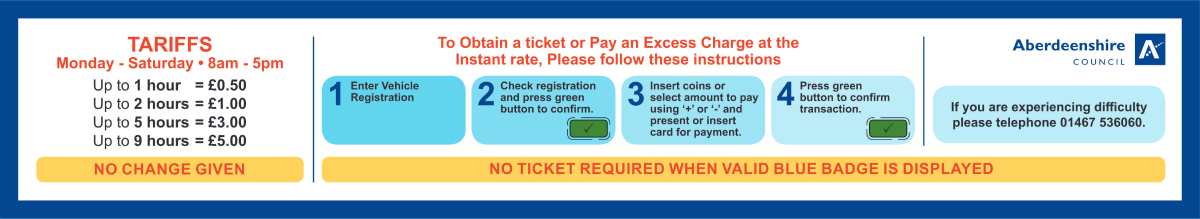 Instructions for paying with card and coins diagram