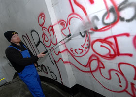 graffiti being removed